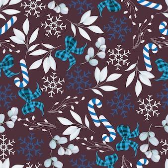 Elegante padrão sem emenda de feliz natal com enfeite de natal branco