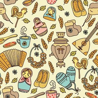 Elegante padrão sem emenda em estilo russo