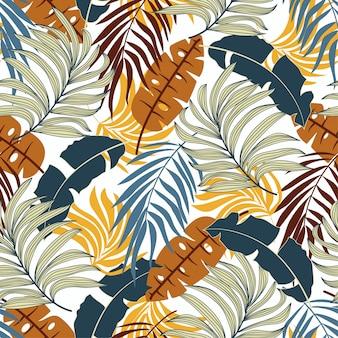 Elegante padrão tropical sem costura com belas folhas e plantas de laranja e azuis