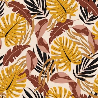 Elegante padrão tropical sem costura com belas folhas e plantas de laranja e vermelhas