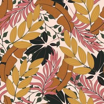 Elegante padrão tropical sem costura com flores cor de rosa e verdes brilhantes