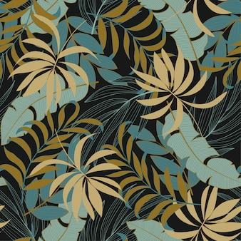 Elegante padrão tropical sem costura com folhas e plantas vermelhas e azuis brilhantes