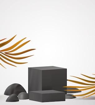 Elegante palco preto de pódio para apresentação de produtos com folhagem de palmeira tropical da natureza