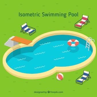 Elegante piscina com elementos do verão