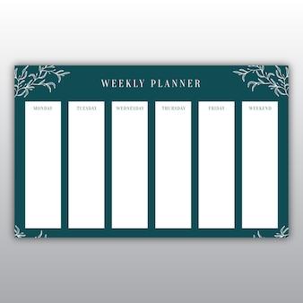Elegante planejador semanal verde escuro