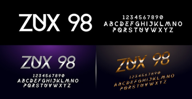 Elegante prata e dourado colorido metal chrome alfabeto fonte e número definido