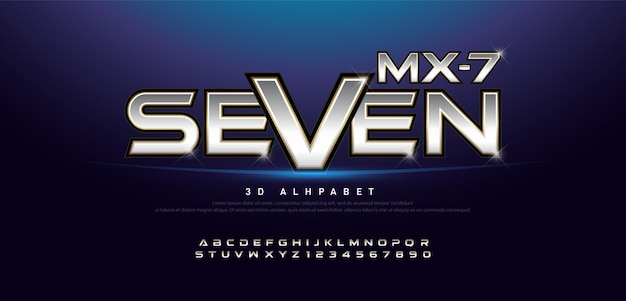 Elegante prata e ouro metal 3d alfabeto e número