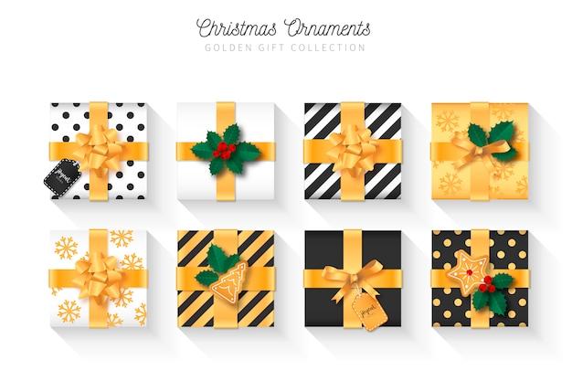 Elegante, presente natal, cobrança, com, ornamentos
