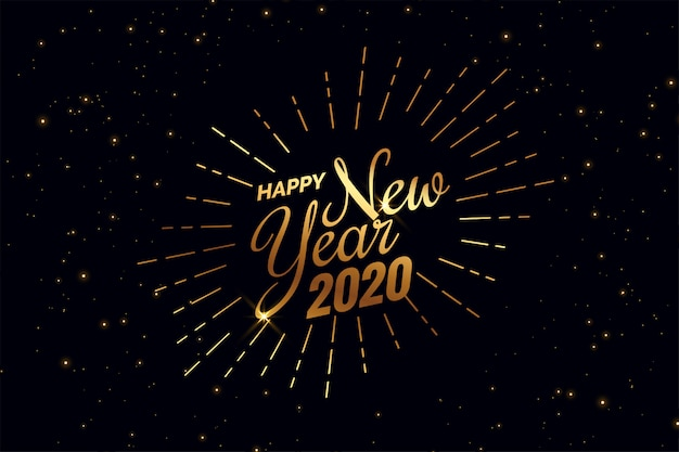 Elegante preto e dourado feliz ano novo 2020 fundo