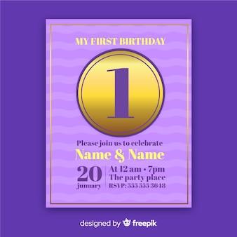 Elegante primeiro cartão de convite de aniversário