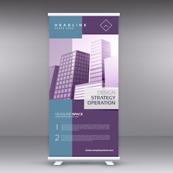 Elegante pruple standee banner roll up template de design