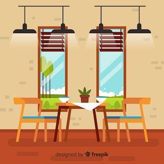 Elegante restaurante com design plano