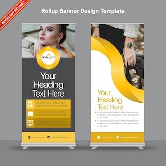 Elegante rollup banner preto e dourado