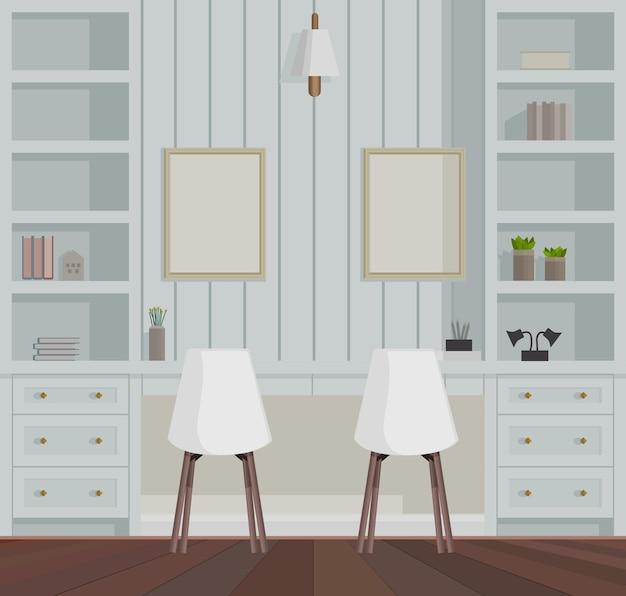 Elegante sala de home office decorada com paredes de madeira