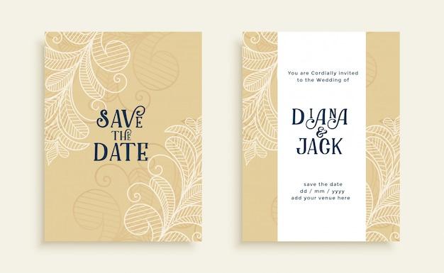 Elegante salvar o cartão de convite de casamento de data