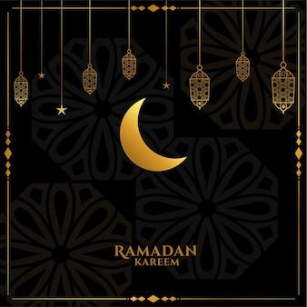 Elegante saudação ramadan kareem eid em preto e dourado