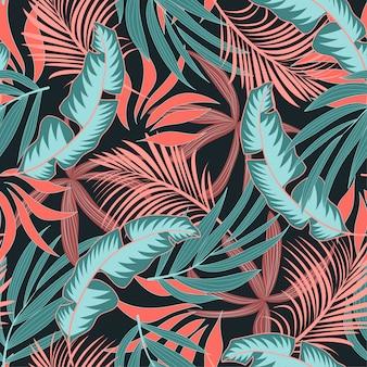 Elegante sem costura padrão tropical com plantas e folhas brilhantes de rosa e azuis