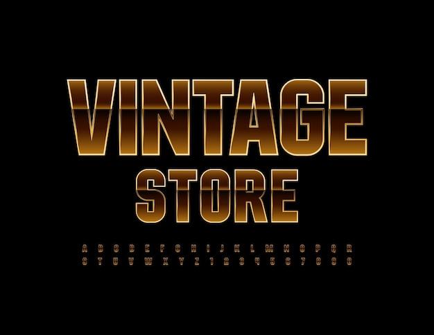 Elegante sign vintage store fonte dourada única alfabeto artístico letras e números