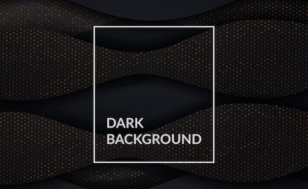 Elegante, sofisticado e luxuoso, fundo preto escuro com detalhes em pontos dourados e elementos curvos