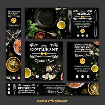 Elegante variedade de bandeiras de restaurantes