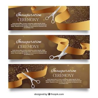 Elegantes banners de inauguração com fita dourada