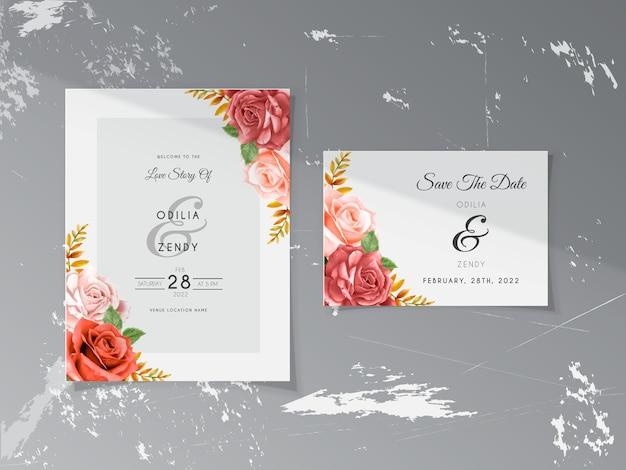 Elegantes cartões de convite de casamento de pêssego e rosas vermelhas desenhados à mão