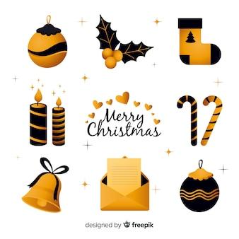 Elegantes elementos de natal preto e dourado