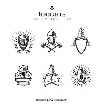 Elegantes emblemas de cavaleiros preto e branco