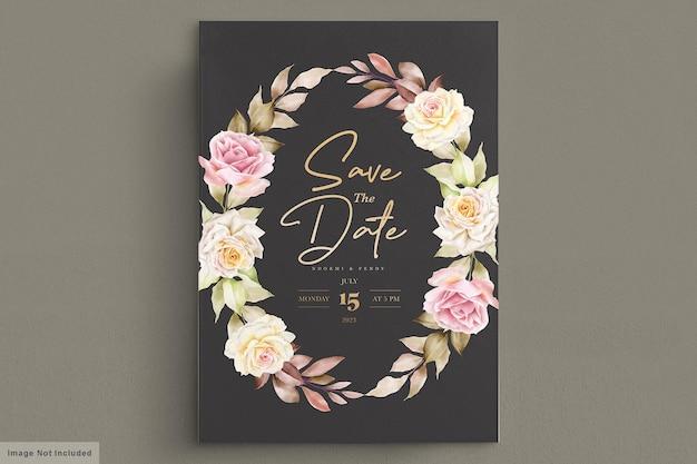 Elegantes flores em aquarela com cartão de convite de lindas folhas