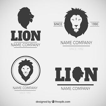 Elegantes logotipos de leão com estilo moderno