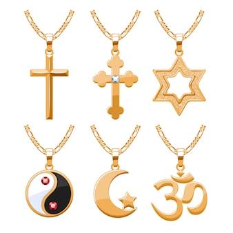 Elegantes rubis, gemas joias e símbolos religiosos, pingentes para conjunto de colar ou pulseira. bom para presente de joias.