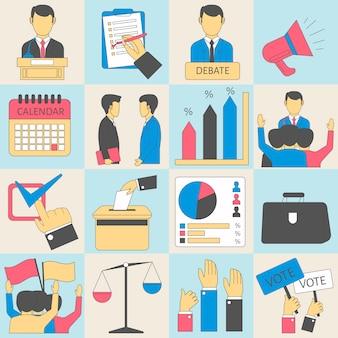 Eleições ou ícones de infográfico de vetor de votação