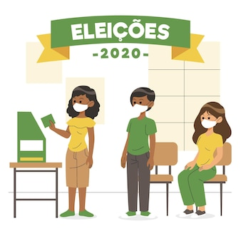 Eleitores brasileiros esperando na fila