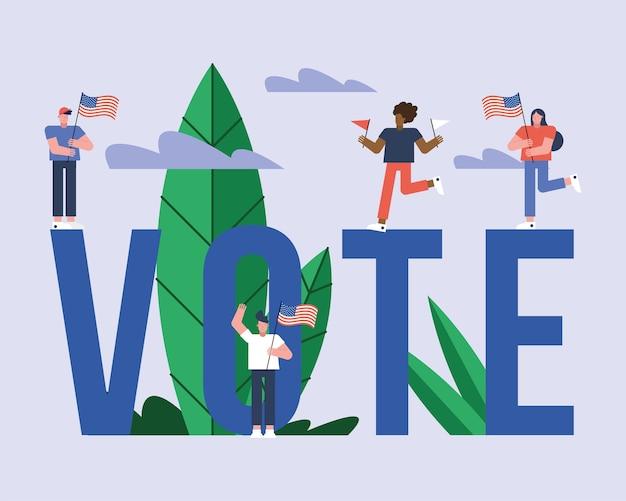 Eleitores com bandeiras dos eua em letras design de ilustração vetorial para dia da eleição