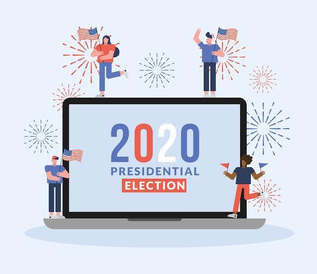 Eleitores com bandeiras dos eua no projeto de ilustração vetorial do dia das eleições para laptop