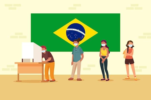Eleitores do brasil mantendo distância