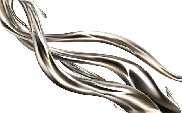 Elemento 3d realístico do jato líquido do metal isolado no fundo branco.