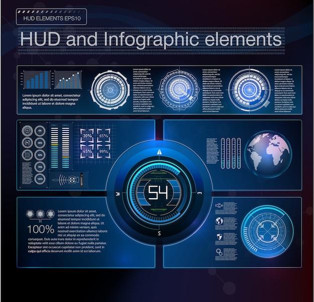 Elemento abstrato da interface hud. plano de fundo virtual. ilustração.