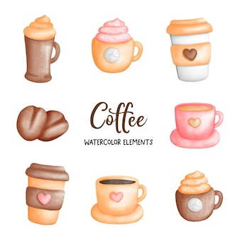 Elemento aquarela da xícara de café