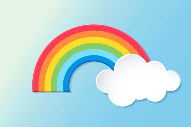 Elemento arco-íris de papel, vetor de clipart bonito do tempo em fundo gradiente azul
