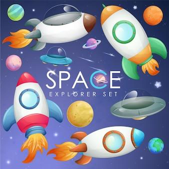 Elemento bonito do espaço sideral em conjunto de ilustração em estilo aquarela