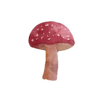 Elemento cogumelo em aquarela. isolado na ilustração vetorial branca.