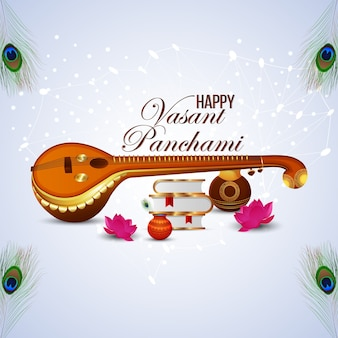 Elemento criativo veena para feliz vasant panchami celebration background Vetor Premium