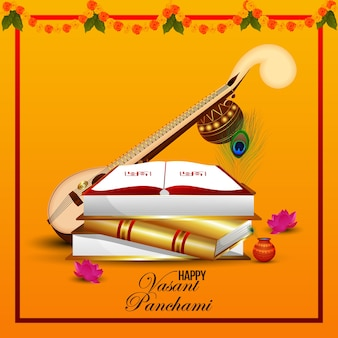 Elemento criativo veena para feliz vasant panchami celebration background
