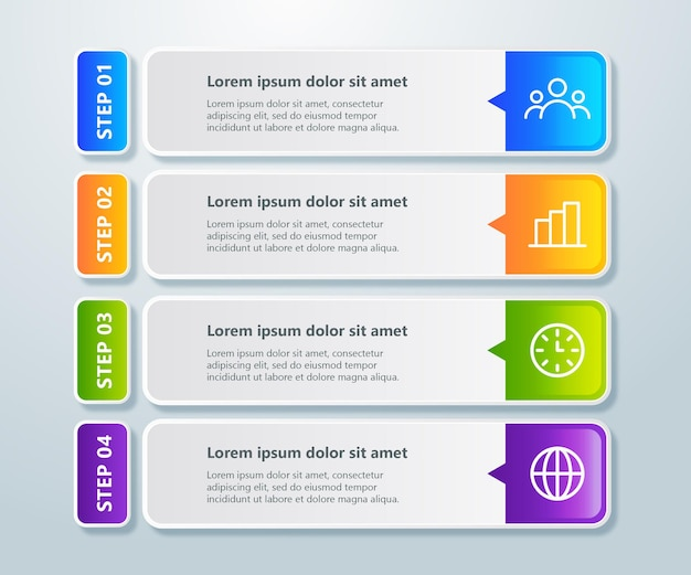 Elemento de 4 etapas do infográfico profissional