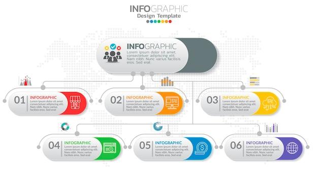 Elemento de 6 etapas de infografia com número e diagrama gráfico, design de gráfico de negócios.