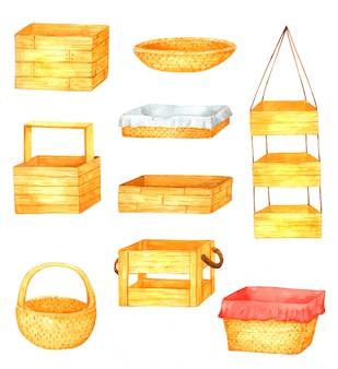 Elemento de aquarela desenhada mão de cesta para design