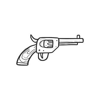 Elemento de arma revólver desenhado de mão. estilo de desenho de doodle em quadrinhos. cowboy, ícone do conceito ocidental. ilustração isolada do vetor.