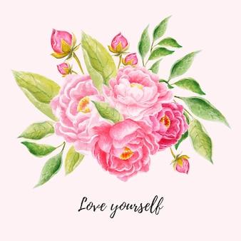 Elemento de arranjo floral em aquarela para cartão de casamento, cartão postal, calendário, banner, papel de parede