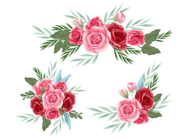 Elemento de arranjo floral rosa para cartão de casamento, cartão comemorativo, calendário, banner, papel de parede